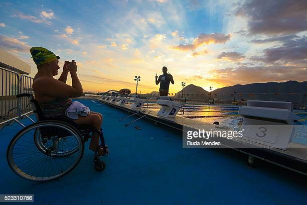Beatriz Zuzi of Brazil takes photos in the warm up pool during the Paralympic Swimming Tournament Aquece Rio Test Event for the Rio 2016 Paralympics...