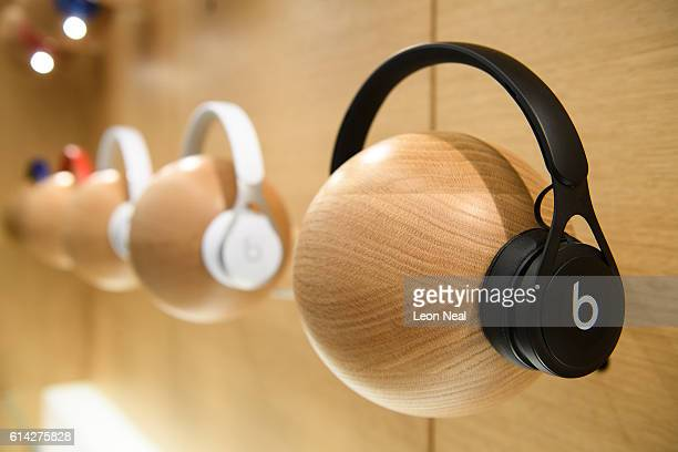 Beats headphones are seen in the upgraded Apple store on Regent Street on October 13 2016 in London England Regent Street was Apple's first store in...