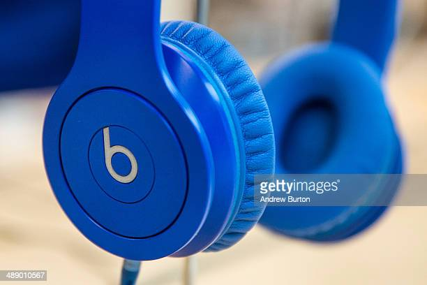 Beats headphones are sold in an Apple store on May 9 2014 in New York City Apple is rumored to be consideringing buying the headphone company for $32...