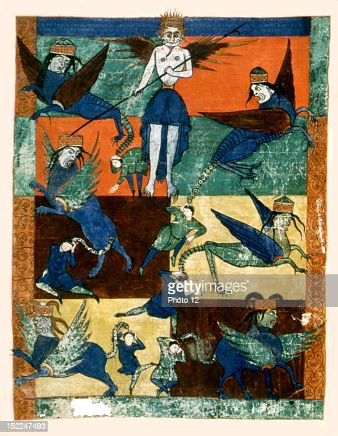 Beatus de Liebana Commentary on the Apocalypse of St Sever f° 145 The angel blows the fifth trumpet Satan and the fallen angels have locusts swept...