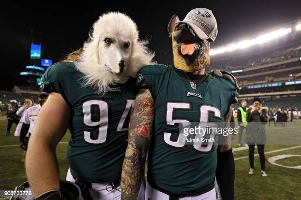 Beau Allen and Chris Long of the Philadelphia Eagles celebrates their teams win while wearing a dog masks over the Minnesota Vikings in the NFC...