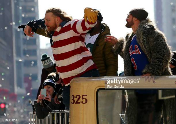 Beau Allen and Chris Long of the Philadelphia Eagles during their Super Bowl Victory Parade on February 8 2018 in Philadelphia Pennsylvania