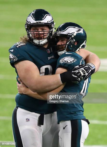 Beau Allen and Jake Elliott of the Philadelphia Eagles celebrate defeating the New England Patriots 41-33 in Super Bowl LII at U.S. Bank Stadium on...