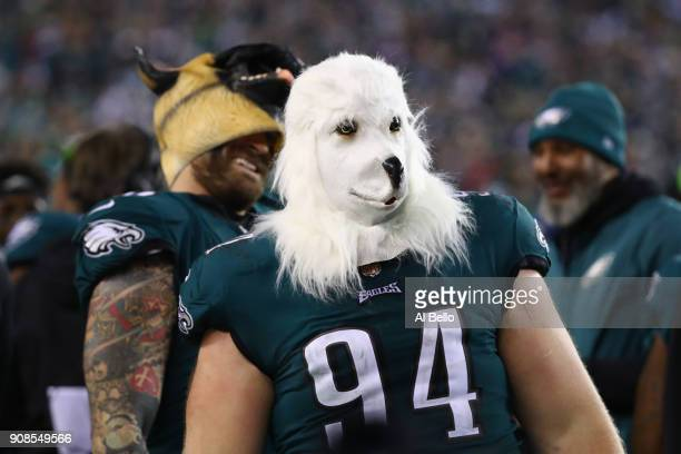 Beau Allen of the Philadelphia Eagles celebrates his teams win while wearing a dog mask over the Minnesota Vikings in the NFC Championship game at...