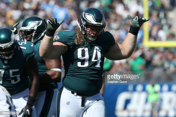 Beau Allen of the Philadelphia Eagles commincates to his teammates during the game against the Los Angeles Chargers at StubHub Center on October 1,...