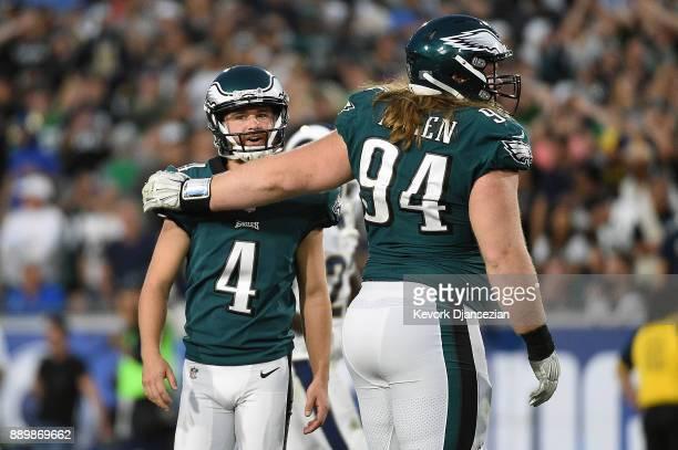 Beau Allen of the Philadelphia Eagles hugs Jake Elliott after Elliott kicked a field goal giving the Philadelphia Eagles a 37-35 lead with three...