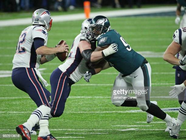 Beau Allen of the Philadelphia Eagles rushes against the New England Patroits during Super Bowl Lll at US Bank Stadium on February 4 2018 in...