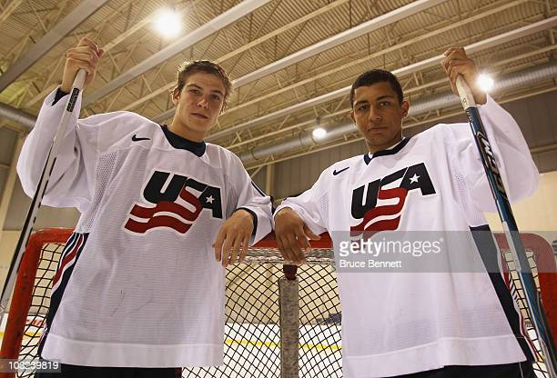 Beau Bennett and Emerson Etem of Team USA pose for photographs at the USA Hockey National Evaluation Camp on August 4 2010 in Lake Placid New York