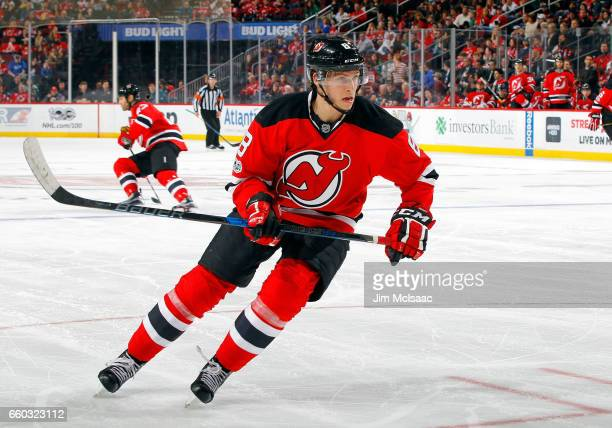 Beau Bennett of the New Jersey Devils in action against the Dallas Stars on March 26 2017 at Prudential Center in Newark New Jersey The Stars...