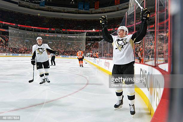 Beau Bennett of the Pittsburgh Penguins celebrates a third period goal against the Philadelphia Flyers at the Wells Fargo Center on January 20 2015...