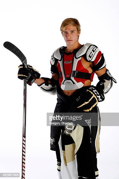 Beau Bennett of the Pittsburgh Penguins poses for an NHLPA The Players Collection portrait at The Westin Harbour Castle hotel on August 27 2012 in...