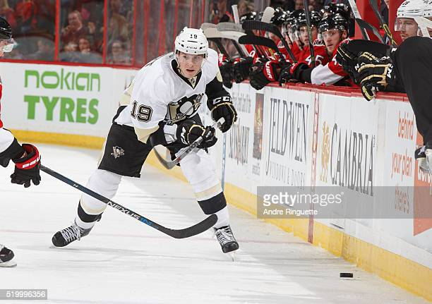 Beau Bennett of the Pittsburgh Penguins skates against the Ottawa Senators at Canadian Tire Centre on April 5 2016 in Ottawa Ontario Canada
