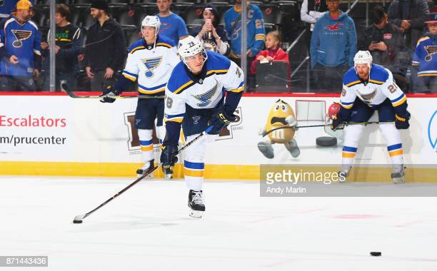 Beau Bennett of the St Louis Blues warms up before his 200th NHL game against the New Jersey Devils at Prudential Center on November 7 2017 in Newark...