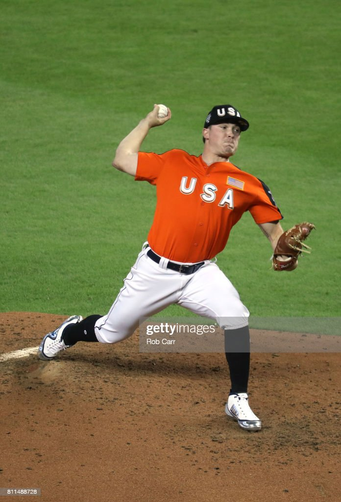 Beau Burrows #55 of the Detroit Tigers and the U.S. Team delivers the pitch against the World Team during the SiriusXM All-Star Futures Game at Marlins Park on July 9, 2017 in Miami, Florida.