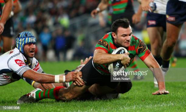 Beau Champion of the Rabbitohs scores a try during the round 13 NRL match between the South Sydney Rabbitohs and the North Queensland Cowboys at ANZ...