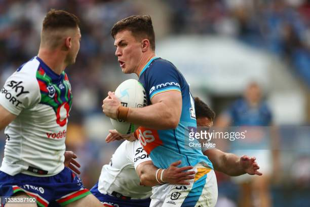 Beau Fermoir of the Titans runs the ball during the round 25 NRL match between the Gold Coast Titans and the New Zealand Warriors at Cbus Super...