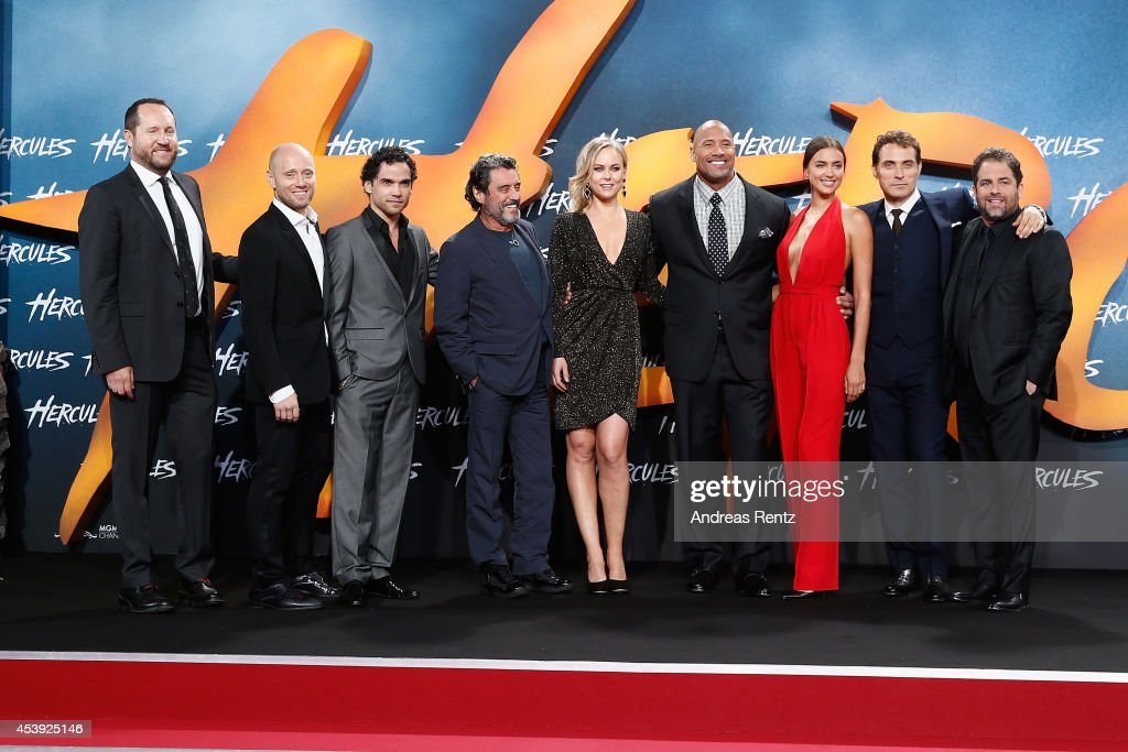 Beau Flynn, Aksel Hennie, Reece Ritchie, Ian McShane, Ingrid Bolso Berdal, Dwayne Johnson, Irina Shayk, Rufus Sewell and Brett Ratner attend the Europe premiere of Paramount Pictures 'Hercules' at CineStar on August 21, 2014 in Berlin, Germany.