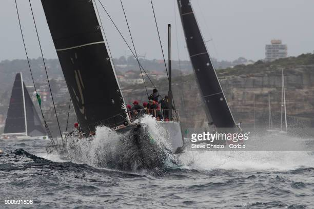 Beau Geste sails up the harbour towards the final marker in Sydney Heads during the Rolex Sydney Hobart Yacht Race 2017 at Rushcutters Bay on...