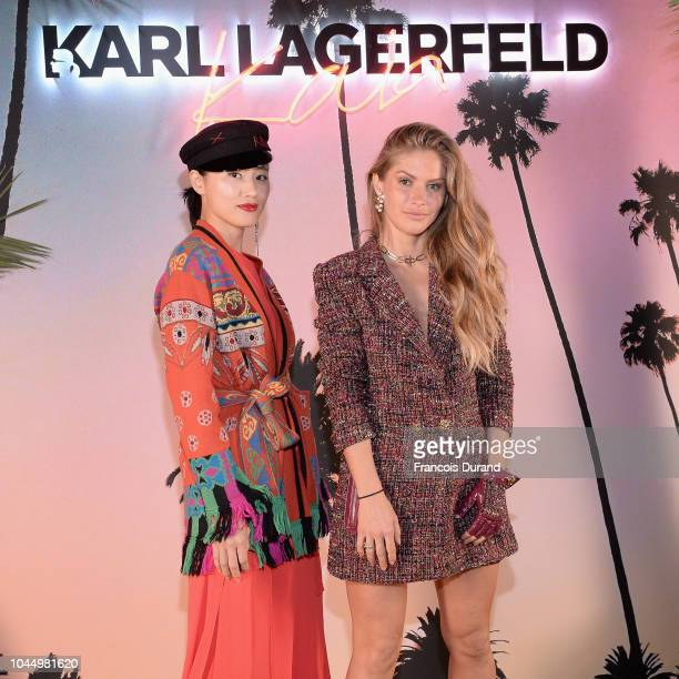 Beau Hemm and Maja Malar celebrate the launch of the Karl x Kaia collaboration capsule collection on October 2 2018 in Paris France