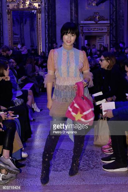 Beau Hemm attends the Simonetta Ravizza show during Milan Fashion Week Fall/Winter 2018/19 on February 24 2018 in Milan Italy