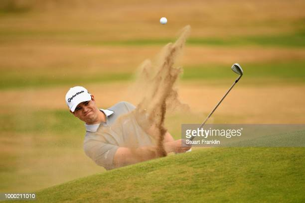 Beau Hossler of the United States plays a practice round during previews ahead of the 147th Open Championship at Carnoustie Golf Club on July 16 2018...