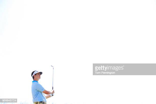 Beau Hossler plays his tee shot on the 12th hole during the second round of the AT&T Byron Nelson at Trinity Forest Golf Club on May 18, 2018 in...