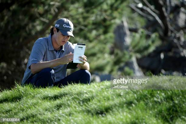 Beau Hossler prepares to play his shot from the third tee during Round Two of the ATT Pebble Beach ProAm at Spyglass Hill Golf Course on February 9...