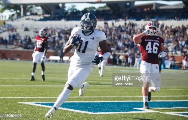 Beau Johnson of the Georgia Southern Eagles celebrates his second quarter touchdown against the University of Massachusetts Minuteman on October 17,...