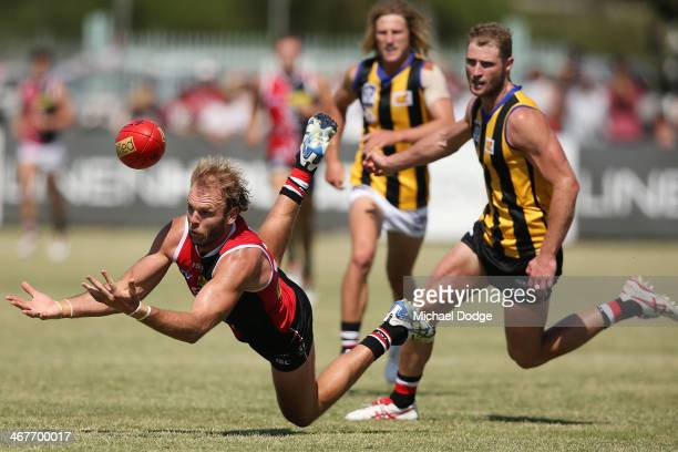 Beau Maister and Luke Delaney contest for the ball during a St Kilda Saints AFL intraclub match at Linen House Oval on February 8 2014 in Melbourne...