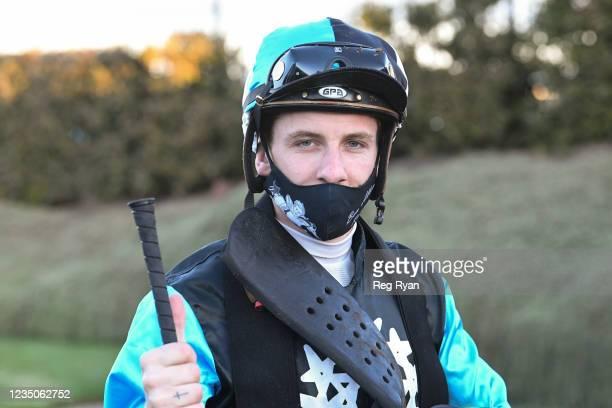 Beau Mertens after Realeza won the JT Dixon BM64 Handicap, at Geelong Racecourse on September 05, 2021 in Geelong, Australia.