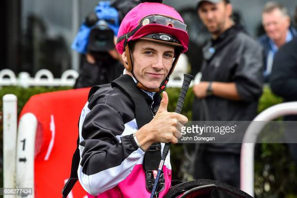 Beau Mertens after winning the Comcater Plate at Ladbrokes Park Hillside Racecourse on March 22 2017 in Springvale Australia