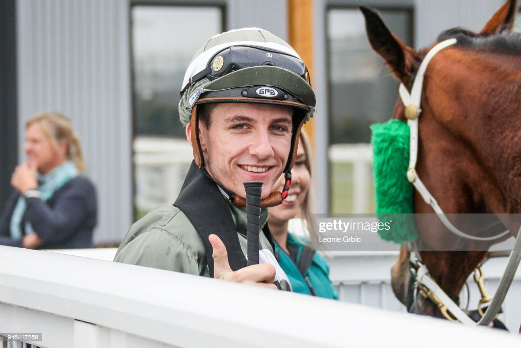 Beau Mertens after winning the Racing.com BM58 Handicap at Racing.com Park Synthetic Racecourse on April 15, 2018 in Pakenham, Australia.