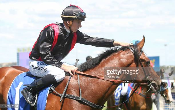 Beau Mertens returns to the mounting yard on Doves Cry after winning Craigâs Royal Hotel FM BM64 Handicapat SportsbetBallarat Racecourse on February...