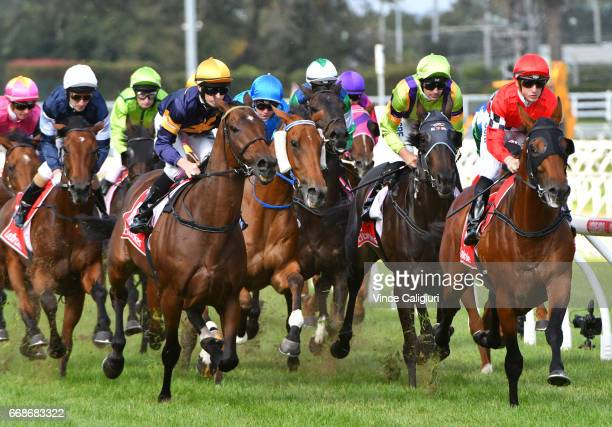 Beau Mertens riding Boom Time in first lap before winning Race 6 during Melbourne Racing at Caulfield Racecourse on April 15 2017 in Melbourne...