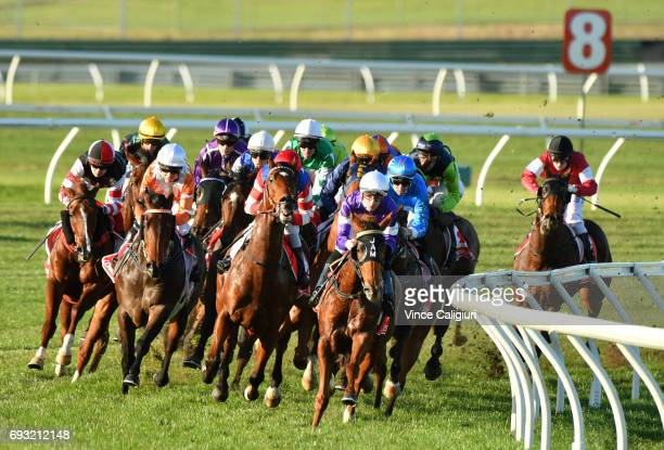 Beau Mertens riding Don'tBabylon leading all the way to win Race 6 during Melbourne Racing at Sandown Lakeside on June 7 2017 in Melbourne Australia
