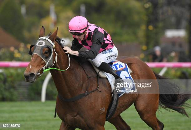 Beau Mertens riding Hot Ruby wins Race 6 during Melbourne Racing at Flemington Racecourse on May 6 2017 in Melbourne Australia