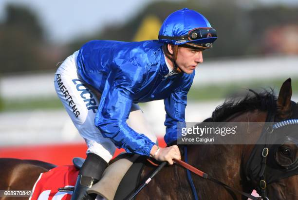 Beau Mertens riding Tarquin before Race 9 Easter Cup during Melbourne Racing at Caulfield Racecourse on April 15 2017 in Melbourne Australia