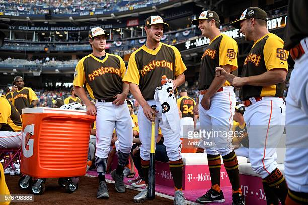 Beau Myers and Wil Myers talk with Drew Pomerantz and Andy Green of the San Diego Padres during the 2016 TMobile Home Run Derby at Petco Park on...