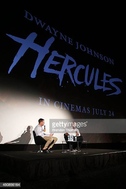 Beau Ryan and Dwayne Johnson address guest at a QA at the screening of HERCULES at Event Cinemas George Street on June 19 2014 in Sydney Australia