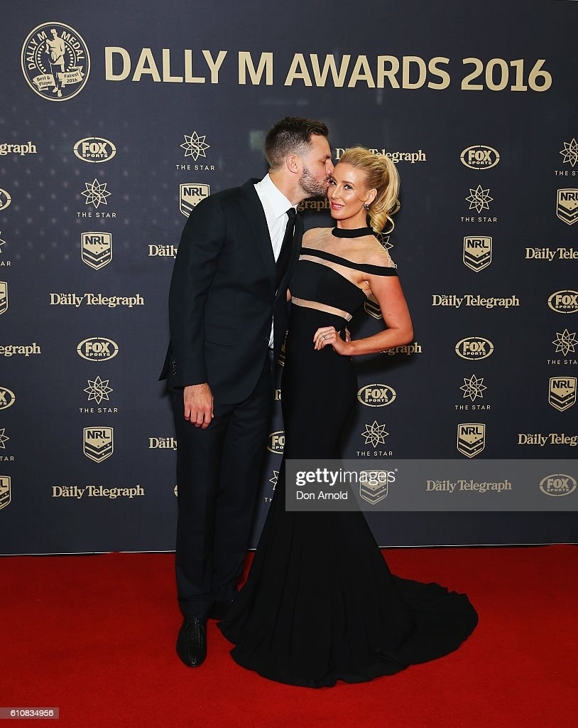Beau Ryan and Kara Ryan arrives at the 2016 Dally M Awards at Star City on September 28, 2016 in Sydney, Australia.