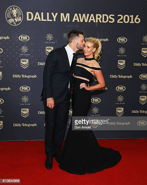 Beau Ryan and Kara Ryan arrives at the 2016 Dally M Awards at Star City on September 28 2016 in Sydney Australia