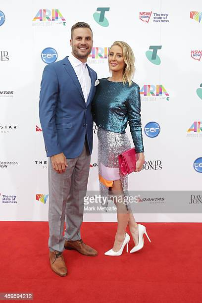 Beau Ryan and wife Kara arrive at the 28th Annual ARIA Awards 2014 at the Star on November 26 2014 in Sydney Australia