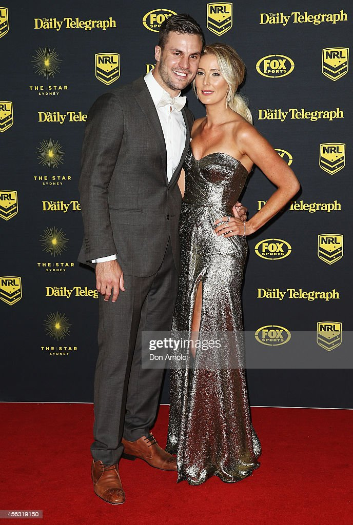 Beau Ryan and wife Kara Ryan arrive at the Dally M Awards at Star City on September 29, 2014 in Sydney, Australia.