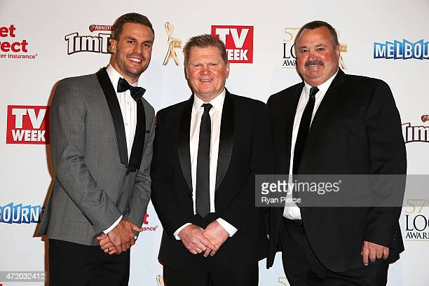 Beau Ryan Paul Vautin and Darryl Brohman arrive at the 57th Annual Logie Awards at Crown Palladium on May 3 2015 in Melbourne Australia