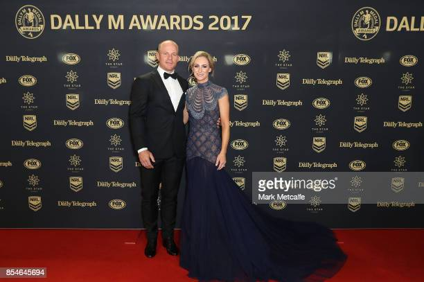 Beau Scott and Amelia Scott arrive ahead of the 2017 Dally M Awards at The Star on September 27 2017 in Sydney Australia