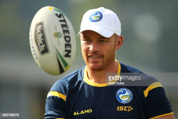 Beau Scott catches a football during a Parramatta Eels NRL training session at the Old Saleyards Reserve on May 8 2018 in Sydney Australia