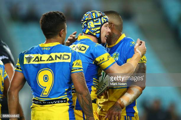 Beau Scott of the Eels celebrates scoring a try during the round 12 NRL match between the South Sydney Rabbitohs and the Parramatta Eels at ANZ...