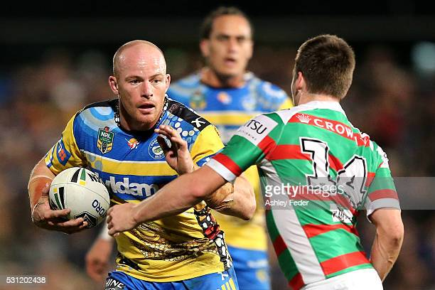 Beau Scott of the Eels is tackled by the defence during the round 10 NRL match between the Parramatta Eels and the South Sydney Rabbitohs on May 13...