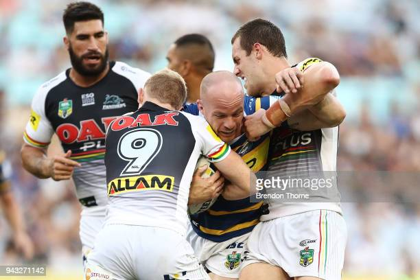 Beau Scott of the Eels is tackled by the Panthers defence during the round five NRL match between the Parramatta Eels and the Penrith Panthers at ANZ...