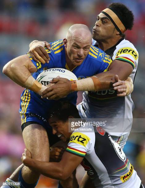 Beau Scott of the Eels is tackled during the NRL Trial match between the Penrith Panthers and Parramatta Eels at Pepper Stadium on February 18 2017...